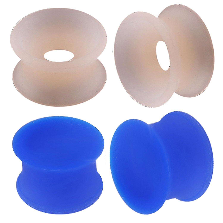 Oído elargisseur Lóbulo Flesh Plug túnel Dilatador doble Flare 9/16 14 mm joyería Piercing piel azul oscuro silicona 4 pcs fgvf: Amazon.es: Joyería