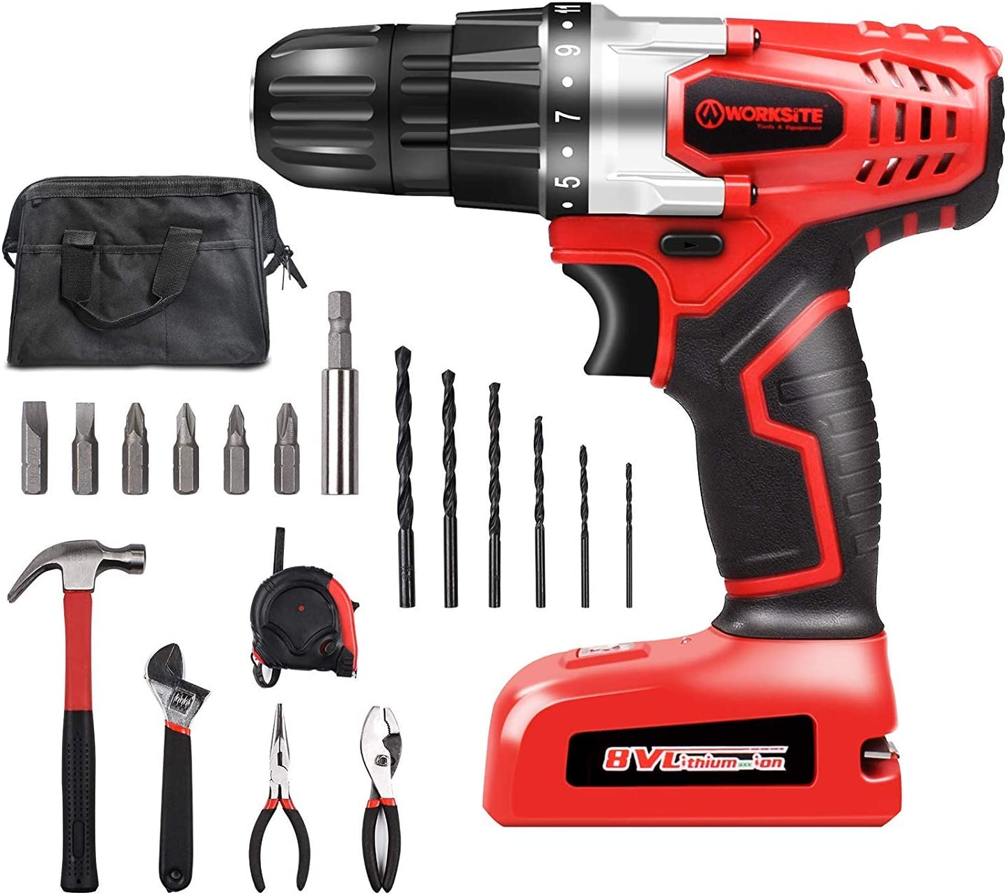 WORKSITE Household Tool Kit Including 8V Cordless Drill Driver with 1300mAh Li-Ion Rechargeable 16 Position Keyless Torque Clutch, Variable Speed Switch, Accessory Set, Hand Tools and Tool Bag