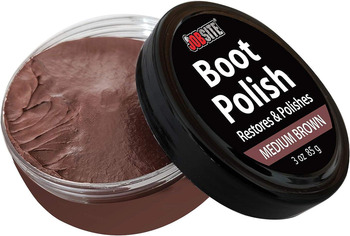 JobSite Premium Leather Boot & Shoe Polish Cream - Restores, Conditions & Polishes - 3 oz