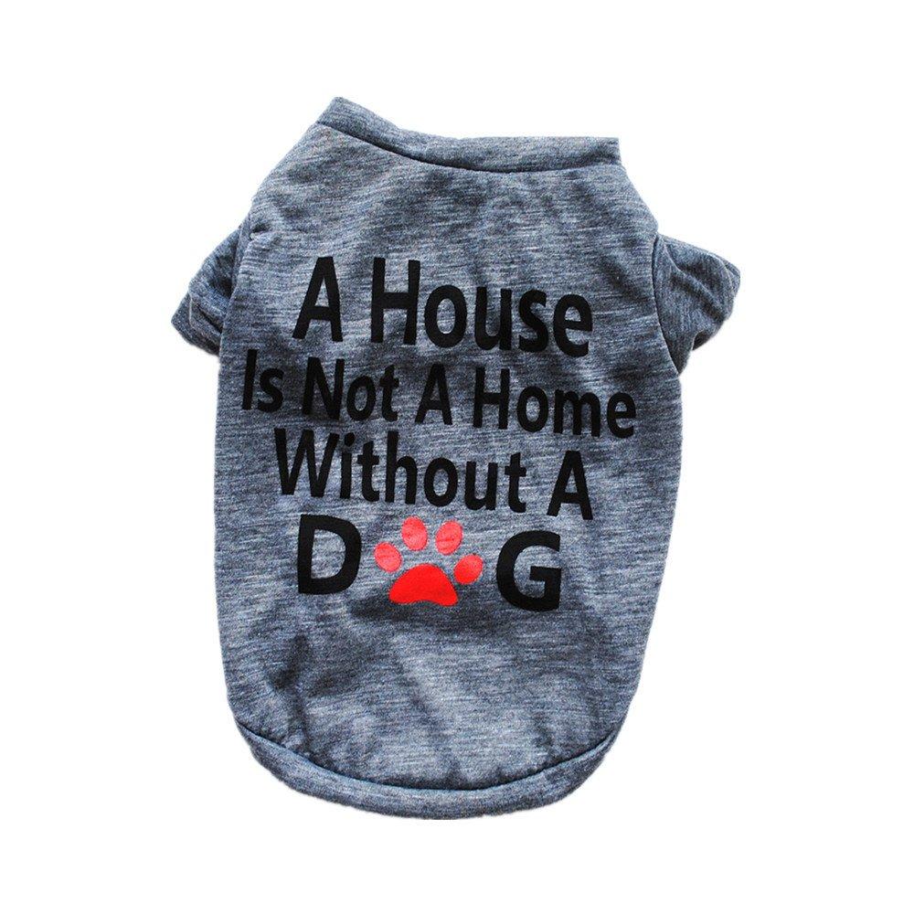 Pet Shirt Daoroka Small Large Dog Cat Costume Puppy Vest Summer Letter Sweatshirt Girl Boy Pet Clothes Fashion Apparel (M, Gray)