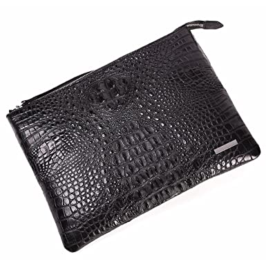 Crocodile Leather Business Clutch Bag Men Large Capacity Bag With Wriststrap