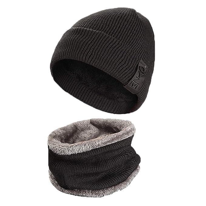 LAOWWO Sombrero de Punto Cálido Sombrero Clásico de Invierno con Gorro y  Bufanda de Círculo Sombrero de Esquí Hombres Mujeres Conjuntos de Sombrero   ... a659feaa502