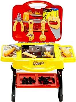 Inside Out Toys Banco de Trabajo y Set de Herramientas de Juguete para niños - Más de 50 Accesorios - Forma de Caja: Amazon.es: Juguetes y juegos