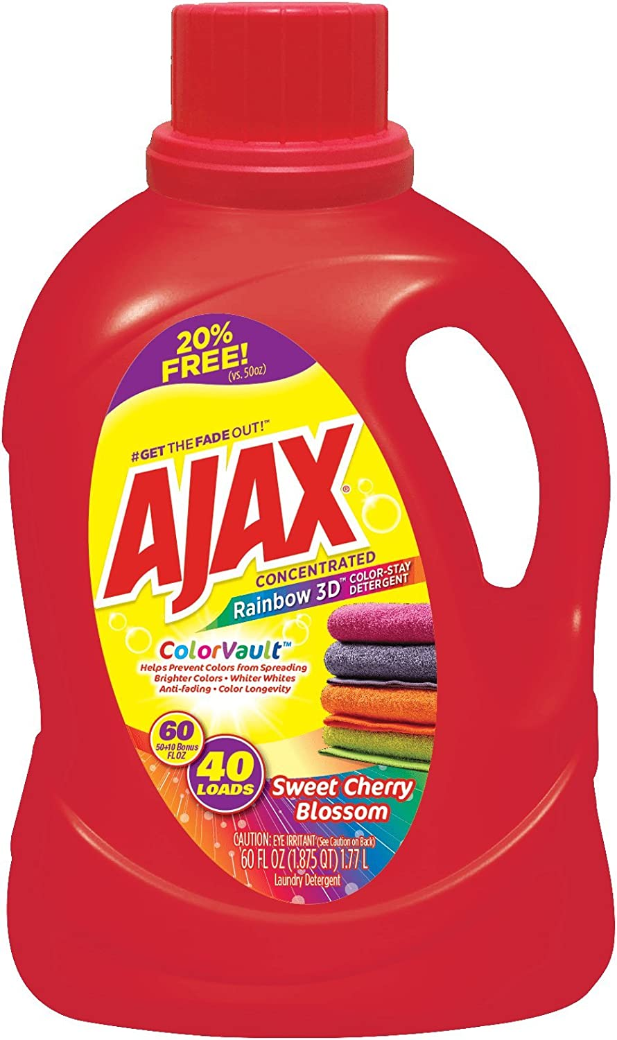 Rainbow 3D Liquid Laundry Detergent with Color Vault by Ajax | Works in All Standard & HE Washing Machines | Hot & Cold Water | Concentrated Colorstay Formula | Sweet Cherry Blossom Scent | 60 Oz.
