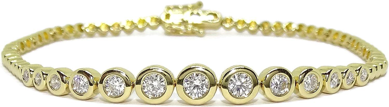 Never Say Never Pulsera de Oro Amarillo de 18k para Mujer con 13 Diamantes Talla Brillante de 0.95cts y Original Cadena de círculos 17.50cm de Larga. 9.95gr de Oro de 18k