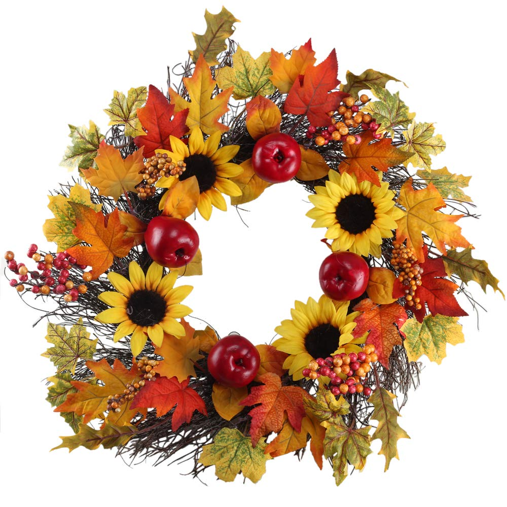 XYXCMOR 21'' Fall Door Wreath for Front Door Decor Handmade Artificial Sunflower & Red Delicious Apple Pumpkin Vine Garland Outdoor Home Wall Thanksgiving Harvest Day Decorations (Color49)
