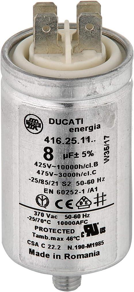 MasterPart Condensador Ducati 8UF para lavadora y secadora de ...