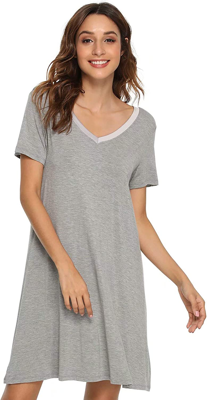 GYS Women's Short Sleeve Nightshirt V Neck Bamboo Nightgown