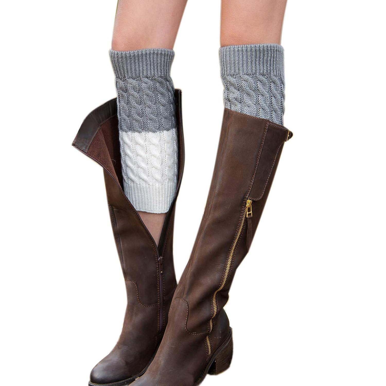 1 Pair(grey+white) Jiuhong Women Winter Warm Crochet Knitted Boot Cuff Socks Short Leg Warmers