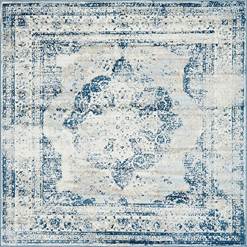 Unique Loom Sofia Collection Traditional Vintage Blue Square Rug (8' x 8') (Square Kitchen Rug)
