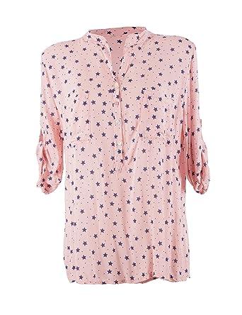 New Colection Moda Italy Damen Bluse mit Sternen V-Ausschnitt und Langen  Ärmel mit Knopfriegel 87635f6858