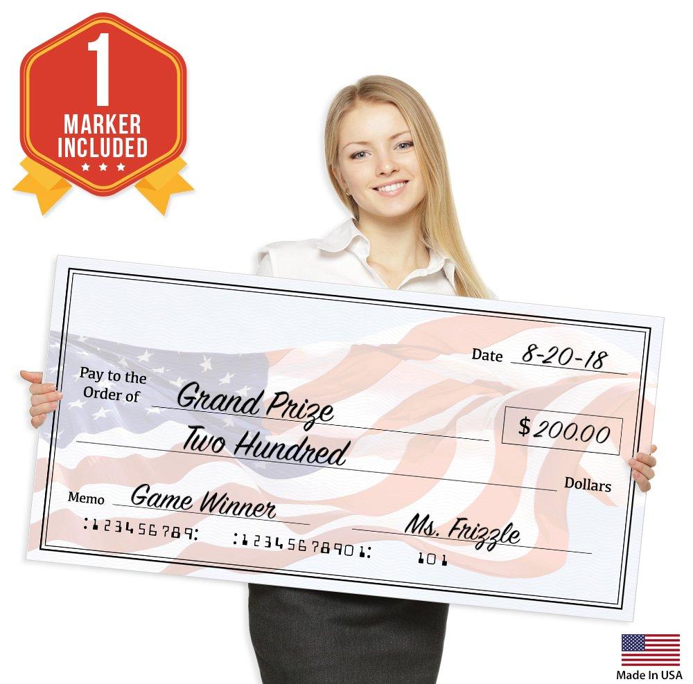 Giant Fake Check for Endowment Award - 32'' x 16'' - Large Novelty Presentation Checks Plaque - Blank Big Reward Prize Spin Wheel Donation - Raffle Fundraising Winners Celebration - NOT Reusable