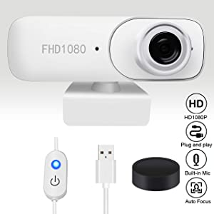 LONCEVON - 2K 1080P USB Webcam with Privacy Cover, Web Camera for PC Mac Meeting Teaching Live Streaming, Touchable Power Switch; Matte White Webcam for Laptop;