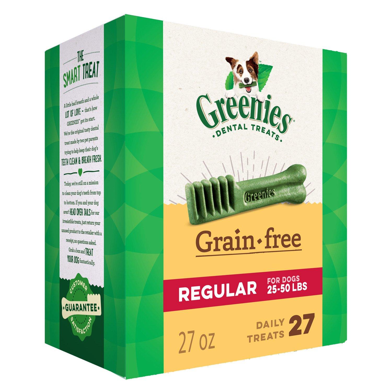 GREENIES Grain Free Regular Natural Dog Dental Care Chews Oral Health Dog Treats, 27 oz. Pack (27 Treats) by Greenies