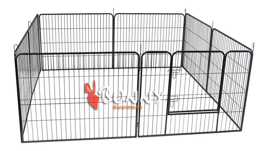 BUNNY BUSINESS Enclos en métal robuste pour chiots ou lapins 8 panneaux Gris acier HD01M