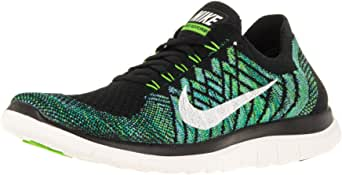 imitar bolita Arte  Nike Free 4.0 Flyknit Women's Running Shoes, 8, Black/sail/vltg Green/lcky  Grn | Road Running - Amazon.com