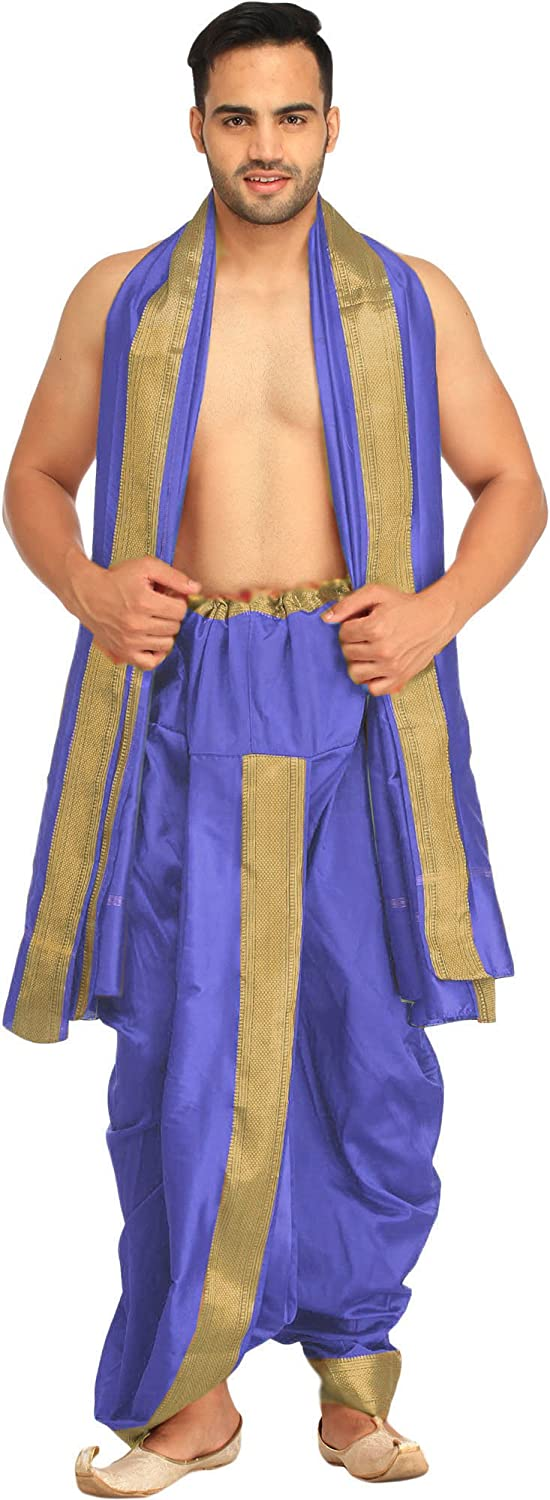 Exotic India Dhoti and Angavastram Set with Wide Golden Border (Ready to Wear) SPB55--buff-yellow