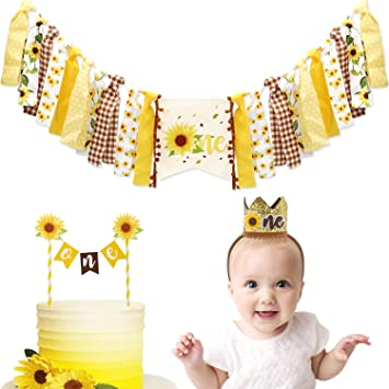 Sunflower Birthday Banner Cake Topper and Sunflower Crown Birthday Hat for Baby Boy Girl 1st Birthday Baby Shower 3 Pieces Sunflower First Birthday Party Decoration Kit