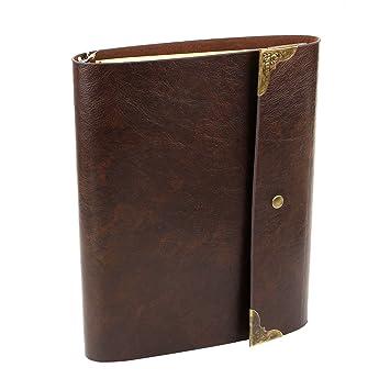 XIUJUAN A5 Notizbuch Leder Reise Tagebuch Nachfüllbar Leer Buch zum Selber Gestalten Blanko Skizzenbuch Ringbuch Vintage Vale