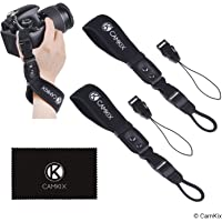Wrist Straps for DSLR and Compact Cameras - 2 Pack - Extra Strong and Durable - Comfortable Neoprene Bracelet - Adjustable Fit - Quick Release Clip - Extra Tethers and Cleaning Cloth Included
