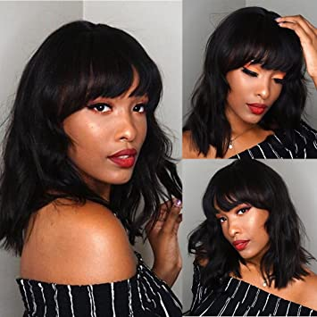 Amazon.com   Natural Wave Human Hair Bob Lace Front Wigs with Bangs  Brazilian Wavy Hair Glueless Full Lace Human Hair Wig with Bangs for Black  Women   ... e02dc3e57791