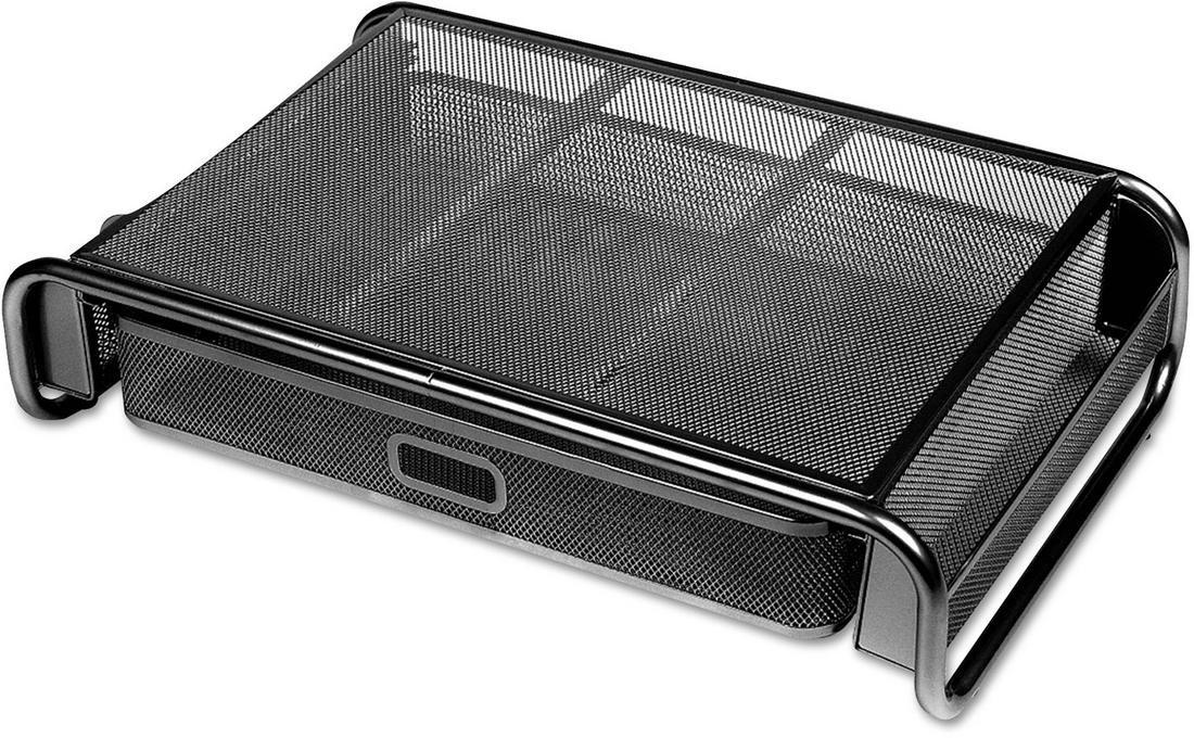 Universal Metal Mesh Desktop Monitor Stand with Drawer 18 x 11 3//4 x 5 1//8 Black