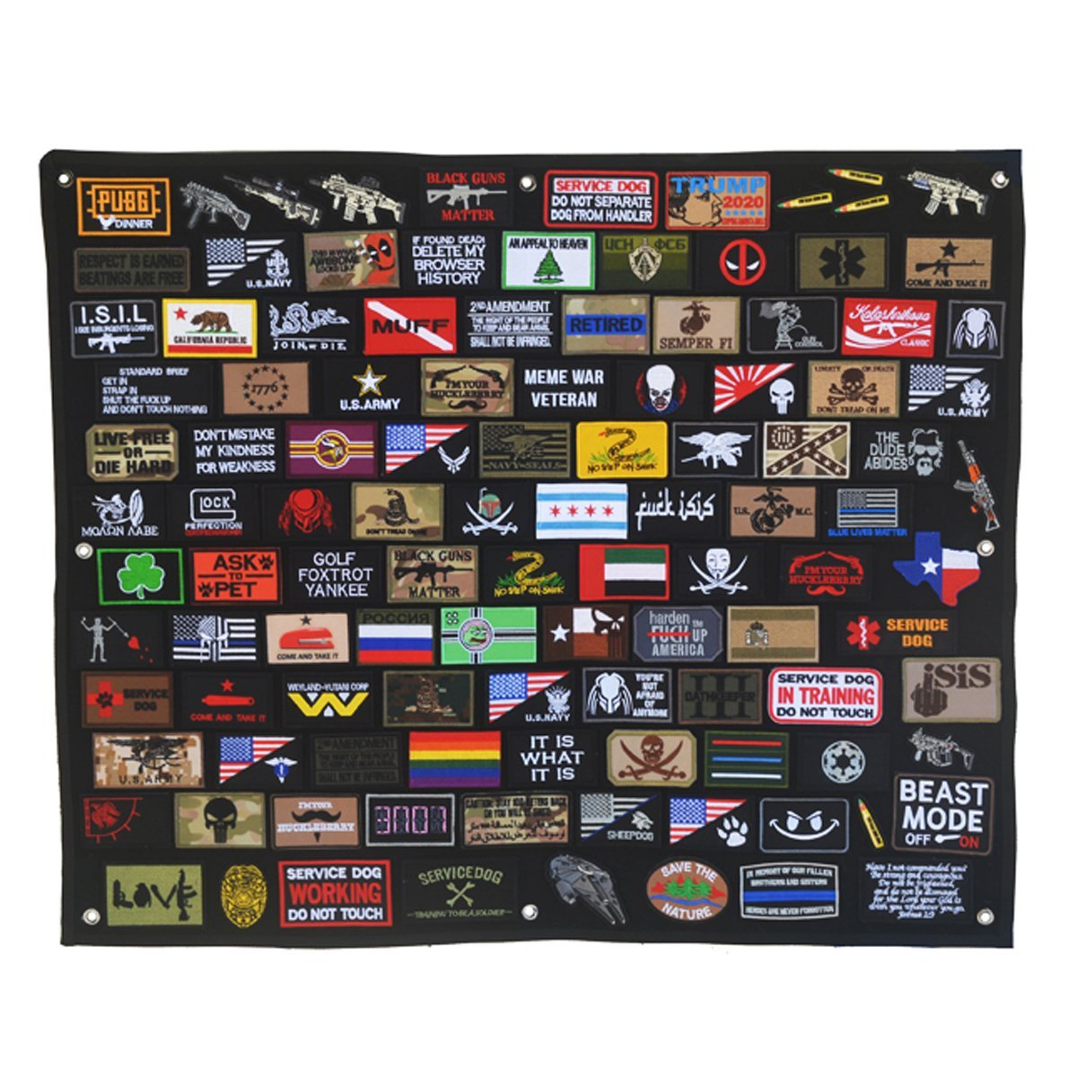 Schnappy Tactical Military Combat Morale Patch Holder Display Board Hook & Loop Patch Panel,43.3''X27.5'' (Large) by Schnappy
