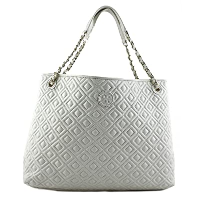 a86e2ad7ac3 Amazon.com  Tory Burch Marion Quilted Center Zip Tote Bag In New Ivory   Shoes