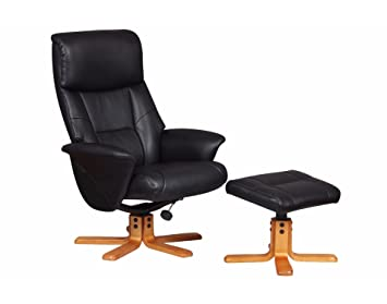 toulon fabric faux leather swivel recliner chair and foot stool