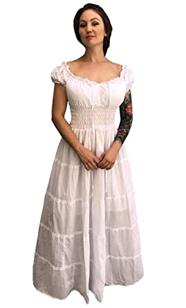 0225446db14b5 Faire Lady Designs Renaissance Wench Costume Peasant Dress Boho Hippie  Sundress White XL