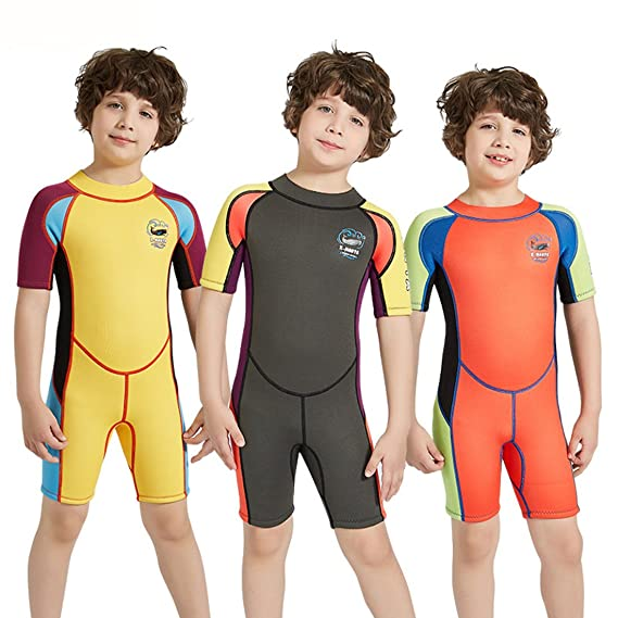 086d4b3a87 Amazon.com  Nataly Osmann Shorty Wetsuit for Kids 2.5mm Premium Neoprene  Suit for Girls and Boys Surfing Swimming Back Zip Spring Suit  Sports    Outdoors
