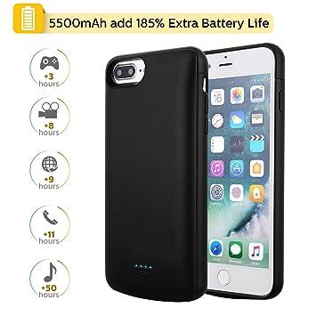 Mbuynow Funda Batería 5500 mAh para iPhone 6 Plus/7 Plus/8 Plus/6s Plus, 5,5 Pulgadas Batería Externa Cargador Portátil 2 en 1 Batería con Funda para ...