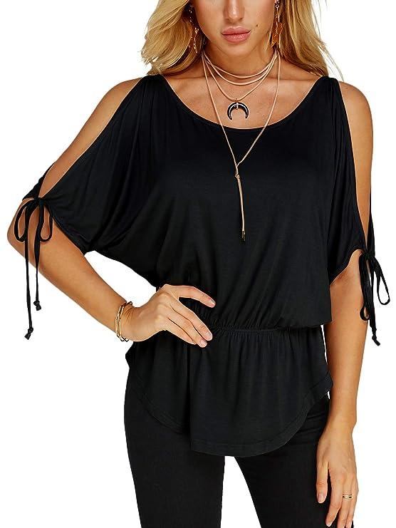 YOINS Women Top V Neck Cold Shoulder Short Sleeves Casual Blouse Fashion T-Shirt #Black# XS