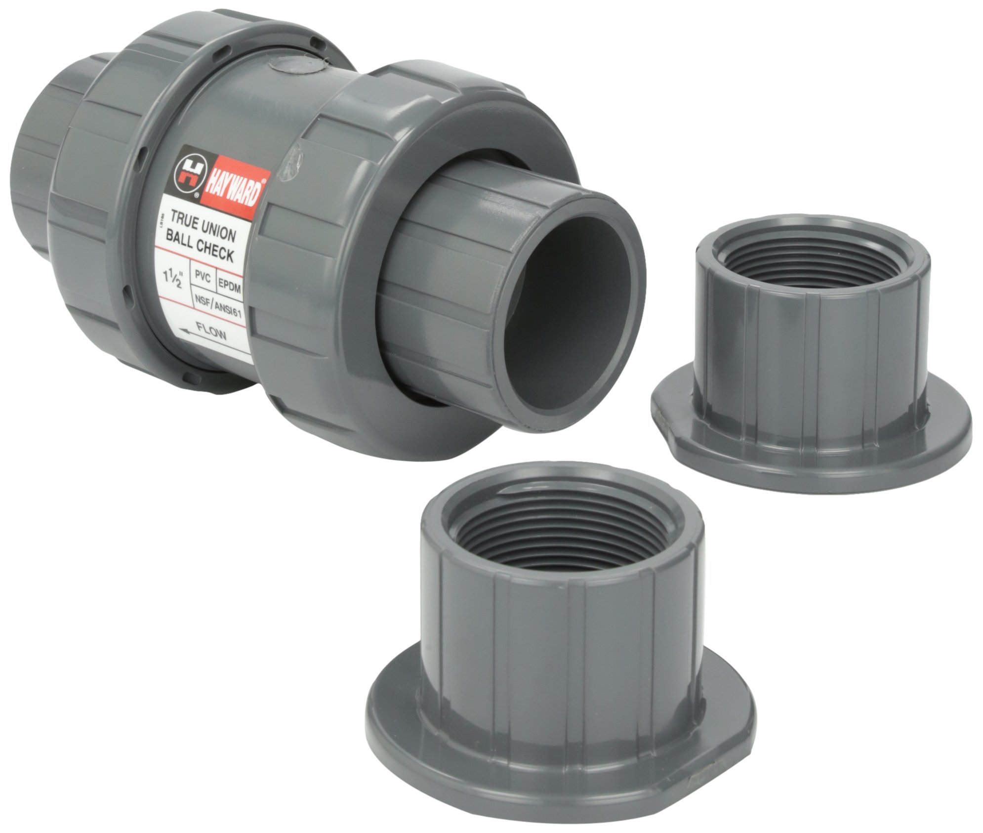 Hayward TC10150STE 1-1/2-Inch PVC TC Series True Union Check Valve with EPDM Seals and Socket/Threaded End Connection by Hayward