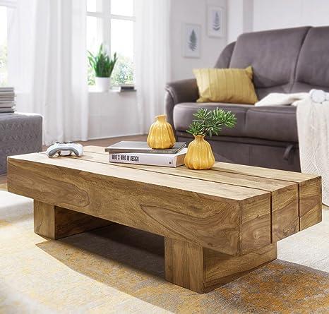 FineBuy legno massello tavolino Acacia 120 cm di larghezza sala da ...