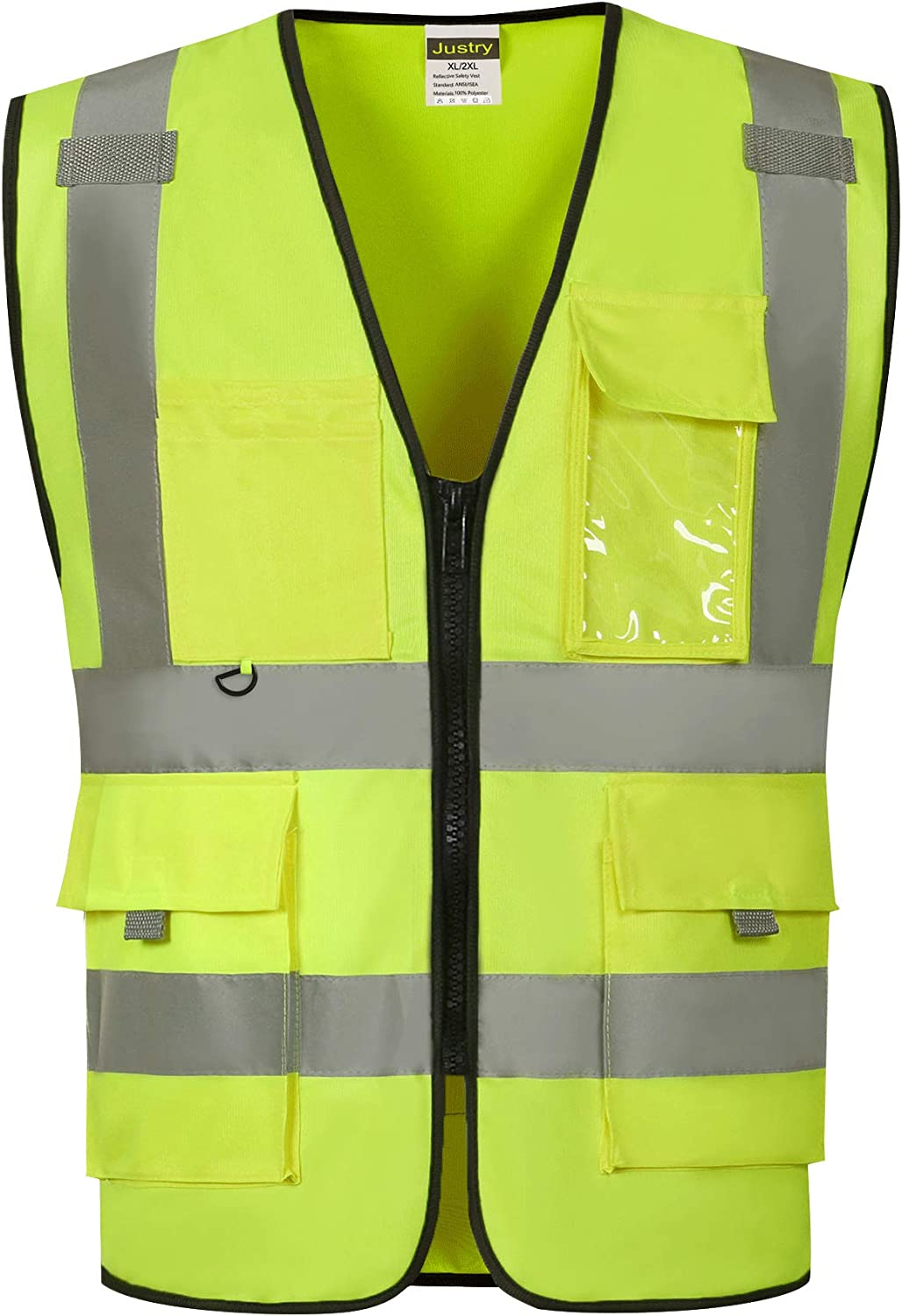Yellow Meets ANSI//ISEA Standards,M//L Justry Safety Pockets Class 2 High Visibility Zipper Front Safety Vest With Reflective Strips