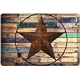 Crystal Emotion Rustic Vintage Star on Wooden Flannel,Entrance Mat Floor Mat Rug Indoor/Outdoor/Front Door/Bathroom Doormat