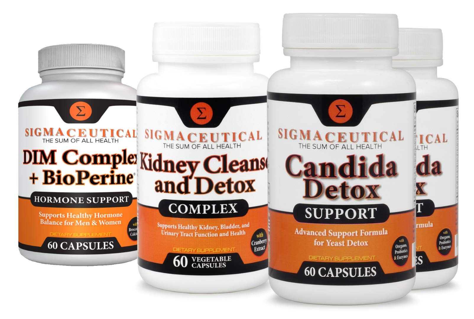 Bacterial Vaginosis Treatment - Candida & Kidney Cleanses & DIM Hormone Support- 2 Month Big Bundle by Sigmaceutical