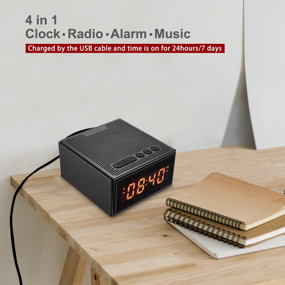 Radiowecker Digitaler Wecker Bluetooth Lautsprecher - Dimmbare LED Funkuhr mit 2*Dual Alarm,Kabellose Speaker mit Bass,FM Radio/Aux/Micro SD,Bluetooth V4.2 mit Mikrofon für iPhone,Android,iPad