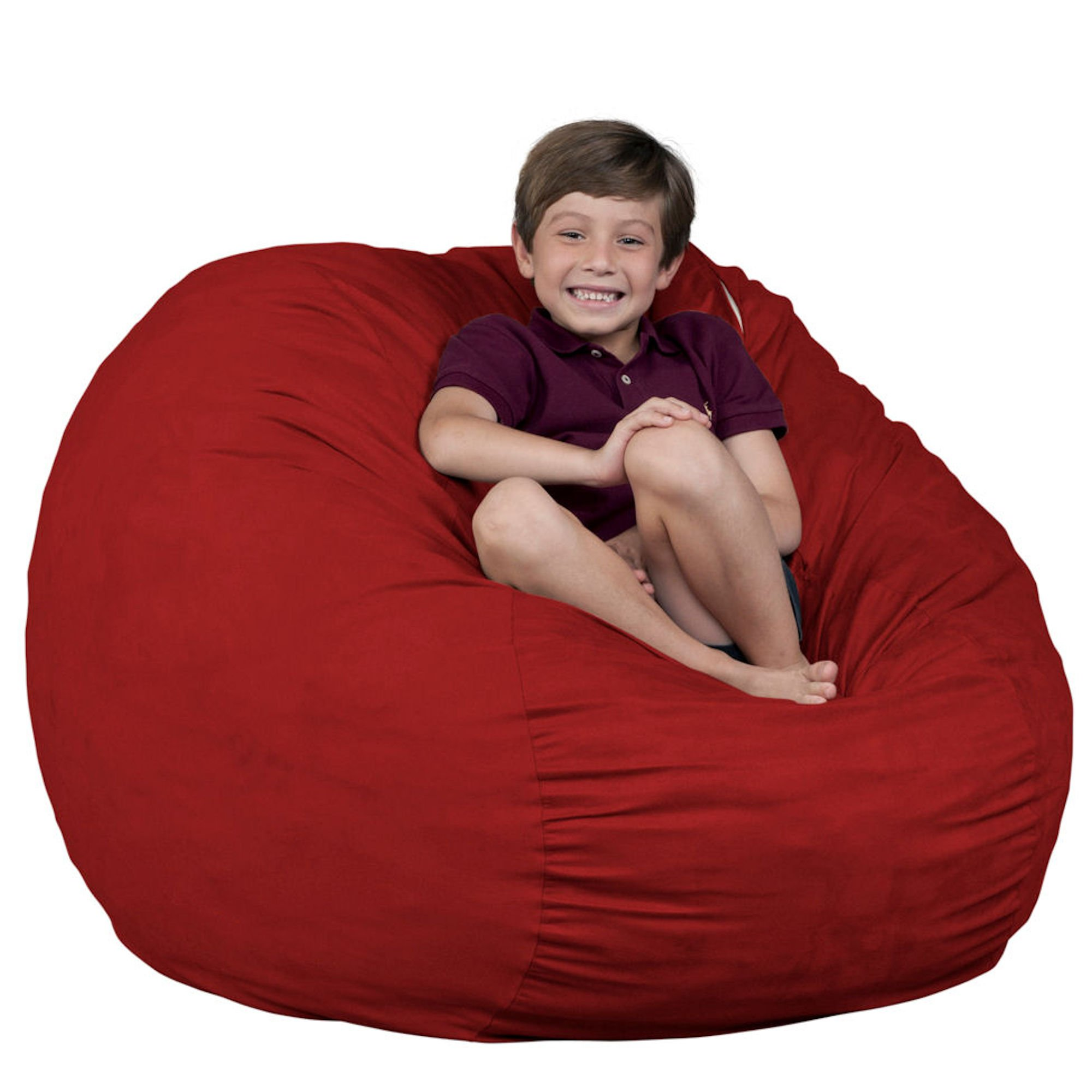 fugu Foam Filled Beanbags in Multiple Sizes and Colors Protective Liner Plus Removable Machine Wash Cover Brand (3 XL, Red)