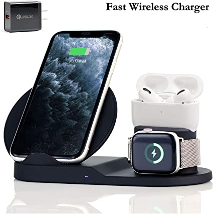 Amazon Com Wireless Charger 3 In 1 Wireless Charging Stand For