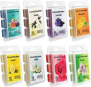 YIHAN Scented Wax Melts -Set of 8 (2.5 oz) Assorted Wax Warmer Cubes/Tarts - Jasmine, Rose, Bergamot, Fig, Vanilla, Lemon, Spring, Lavender.