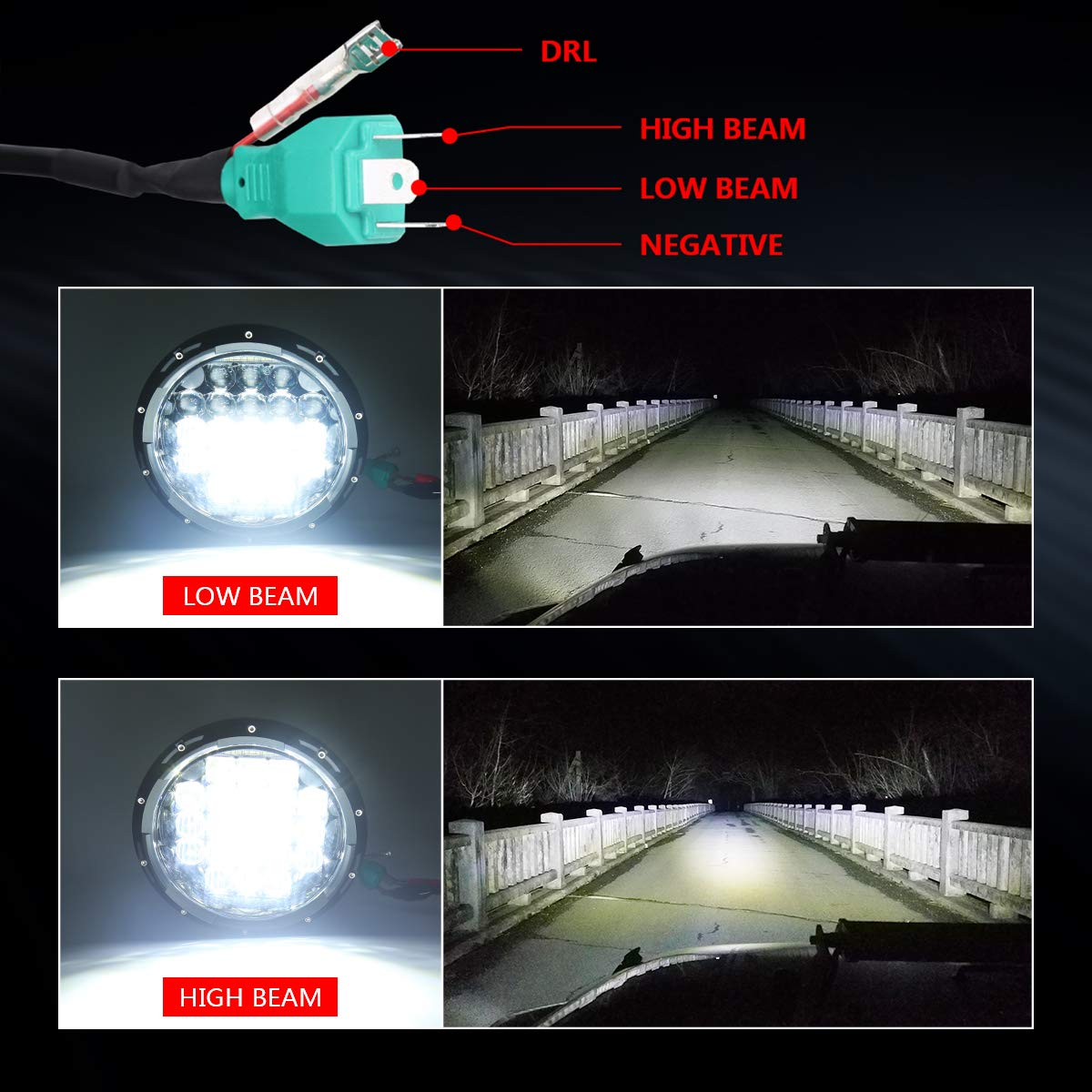 Motorcycles 7inch Round LED Projector Headlights for Motorbike Headlamp Driving Lights-1Pcs