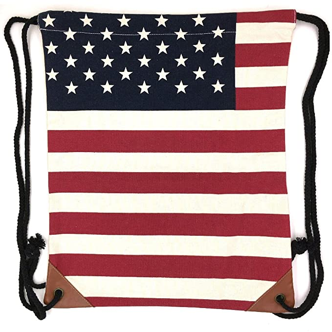 d681c2d0e4f7 Amazon.com  Canvas Drawstring Backpack Sackpack Bag - Red White Stripes   Sports   Outdoors