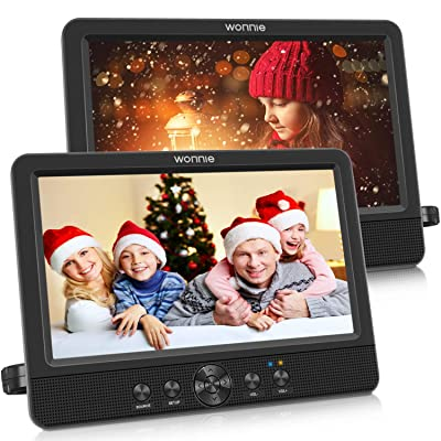 """WONNIE 10.5"""" Dual Screen DVD Player Portable CD Players for Car with Two Mounting Bracket, 5-Hour Rechargeable Battery, Play a Same or Two Different Movies (2 X DVD Players): Car Electronics"""