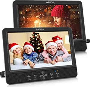 """WONNIE 10.5"""" Dual Screen DVD Player Portable CD Players for Car with Two Mounting Bracket, 5-Hour Rechargeable Battery, Play a Same or Two Different Movies (2 X DVD Players)"""