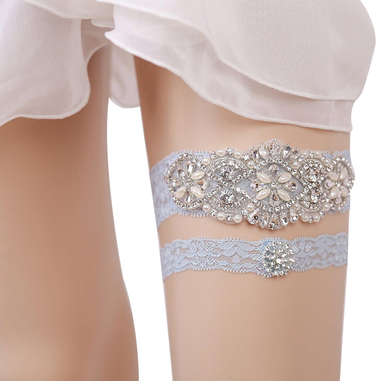 Minsto Bridal Ivory Floral Wedding Lace Retro Garters for Bride (J052)
