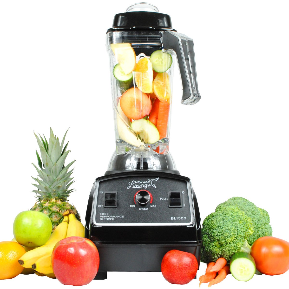 New Age Living BL1500 3HP Smoothie Blender - 5 Year Warranty - Blends Frozen Fruits, Vegetables, Greens, even Ice - Make Pro Quality Shakes & Soups by New Age Living   B00JZWHVTC