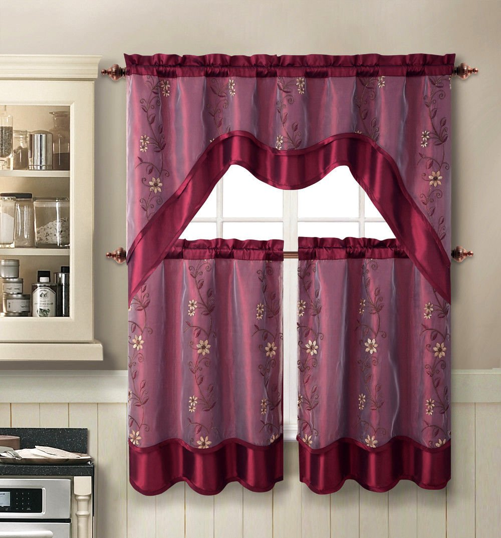 Burgundy Kitchen Curtains