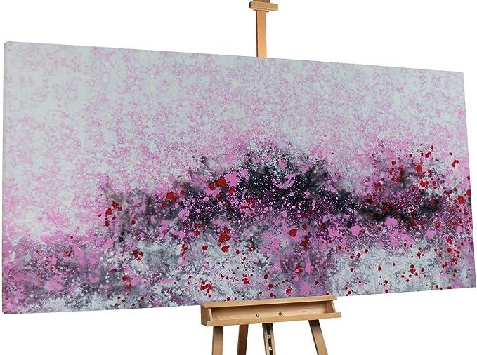 Kunstloft® Extraordinario Cuadro al óleo First Bloom of Spring 200x100cm | Original Pintura XXL Pintado a Mano sobre Lienzo | Flores Abstracto Rojo Rosa | Mural de Arte Moderno en una Pieza:
